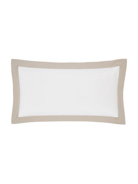 Gewaschene Leinen-Kopfkissenbezüge Eleanore in Weiß/Beige, 2 Stück, Halbleinen (52% Leinen, 48% Baumwolle)  Fadendichte 136 TC, Standard Qualität  Halbleinen hat von Natur aus einen kernigen Griff und einen natürlichen Knitterlook, der durch den Stonewash-Effekt verstärkt wird. Es absorbiert bis zu 35% Luftfeuchtigkeit, trocknet sehr schnell und wirkt in Sommernächten angenehm kühlend. Die hohe Reißfestigkeit macht Halbleinen scheuerfest und strapazierfähig., Weiß, Beige, 40 x 80 cm
