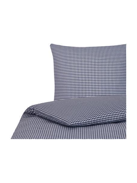 Karierte Baumwoll-Bettwäsche Scotty in Blau/Weiss, 100% Baumwolle Fadendichte 118 TC, Standard Qualität Bettwäsche aus Baumwolle fühlt sich auf der Haut angenehm weich an, nimmt Feuchtigkeit gut auf und eignet sich für Allergiker, Blau/Weiss, 135 x 200 cm + 1 Kissen 80 x 80 cm