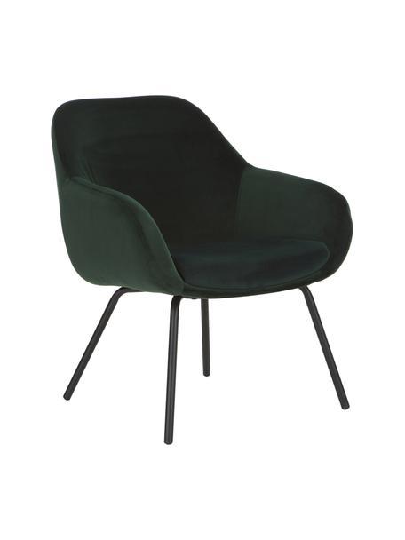 Fluwelen fauteuil Jana in donkergroen, Bekleding: fluweel (polyester), Poten: gepoedercoat metaal, Donkergroen, B 72 x D 68 cm