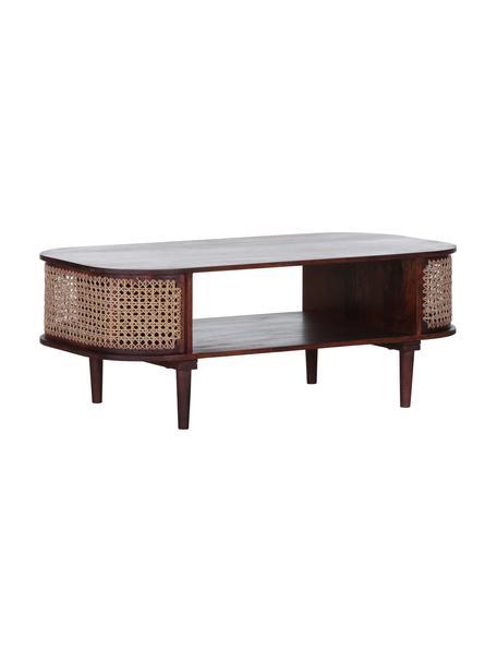Tavolino da salotto intrecciato in legno di acacia Mamba, Legno di mango, Marrone, Larg. 120 x Alt. 45 cm