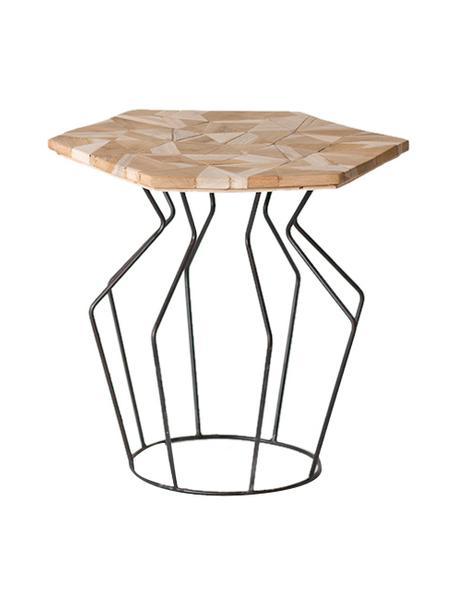 Stolik pomocniczy Baron, Blat: drewno tekowe, Nogi: metal, Beżowy, czarny, S 45 x W 45 cm