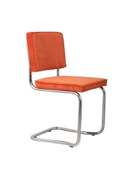 Silla cantilever de pana Kink, Tapizado: pana (88%nylon, 12%poli, Estructura: metal cromado, Naranja, cromo, An 48 x F 48 cm