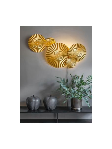 Aplique LED de diseño Omega, con enchufe, Pantalla: metal, latón, Cable: plástico, Latón, An 70 x Al 55 cm