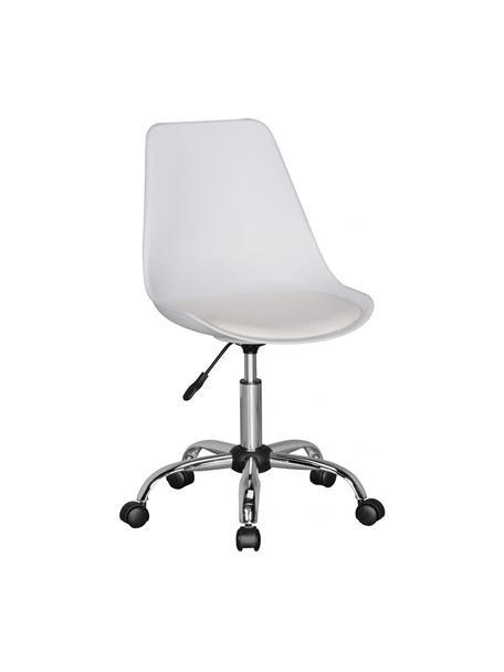 Krzesło biurowe z tapicerowanym siedziskiem Korsika, obrotowe, Tapicerka: poliester, Stelaż: metal chromowany, Biały, chrom, S 47 x G 46 cm