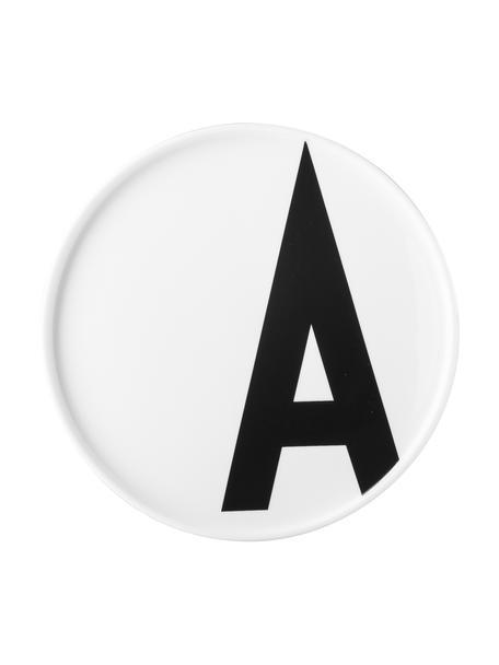 Plato postre de diseño Personal (variantes de A a Z), Porcelana fina de hueso (porcelana) Fine Bone China es una pasta de porcelana fosfática que se caracteriza por su brillo radiante y translúcido., Blanco, negro, Plato A