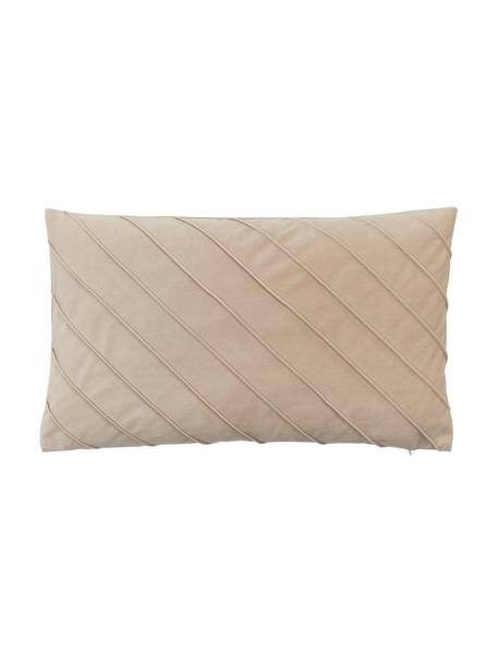 Poszewka na poduszkę z aksamitu Leyla, Aksamit (100% poliester), Beżowy, S 30 x D 50 cm