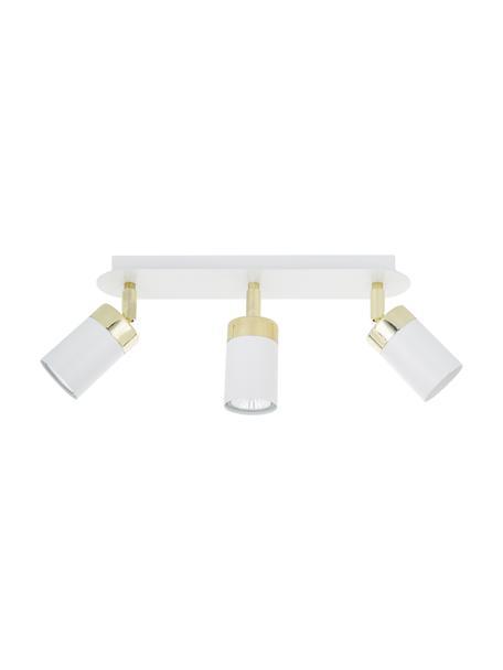 Plafondspot Joker, Baldakijn: gelakt metaal, Wit, messingkleurig, 45 x 13 cm
