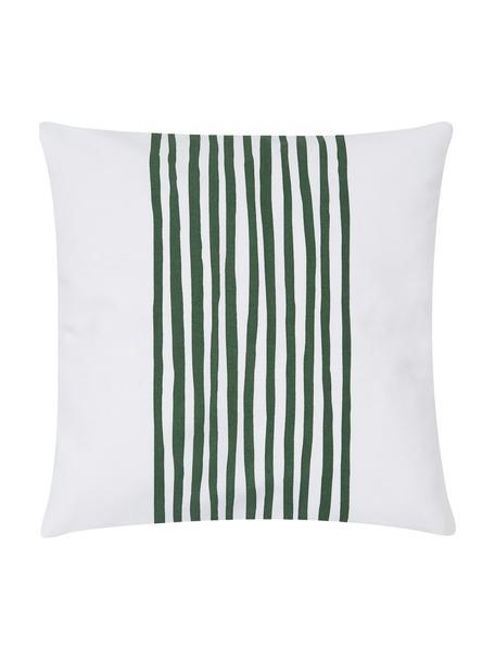 Federa arredo con strisce Corey, 100% cotone, Bianco, verde scuro, Larg. 40 x Lung. 40 cm