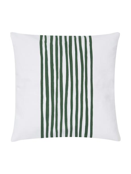 Poszewka na poduszkę Corey, 100% bawełna, Biały, ciemnyzielony, S 40 x D 40 cm