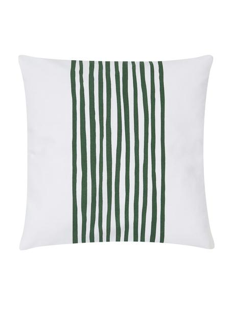 Funda de cojín Corey, 100%algodón, Blanco, verde oscuro, An 40 x L 40 cm