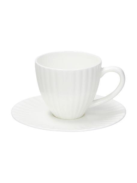 Espressotassen Radius mit Untertassen aus Porzellan in Weiss, 2 Stück, Fine Bone China (Porzellan) Fine Bone China ist ein Weichporzellan, das sich besonders durch seinen strahlenden, durchscheinenden Glanz auszeichnet., Weiss, Set mit verschiedenen Grössen