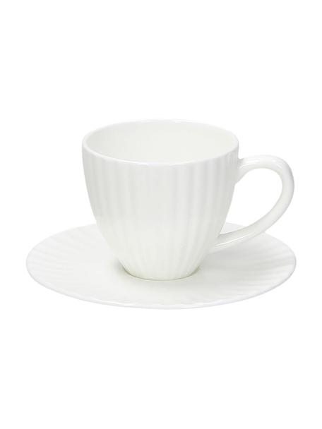 Espresso kopjes Radius met schoteltjes van porselein met groefreliëf, 2 stuks, Beenderporselein (porselein) Fine Bone China is een zacht porselein, dat zich vooral onderscheidt door zijn briljante, doorschijnende glans., Wit, Ø 7 x H 6 cm
