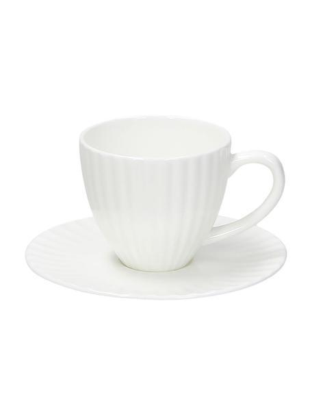 Filiżanka do espresso z porcelany kostnej z reliefem ze spodkiem Nala, 2 szt., Porcelana kostna (Fine Bone China) Porcelana kostna to miękka porcelana wyróżniająca się wyjątkowym, półprzezroczystym połyskiem, Biały, Ø 7 x W 6 cm