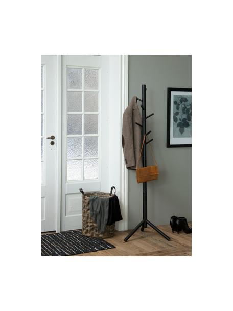 Kleiderständer Bremen aus Holz mit 6 Haken, Gummibaumholz, lackiert, Schwarz, 51 x 176 cm