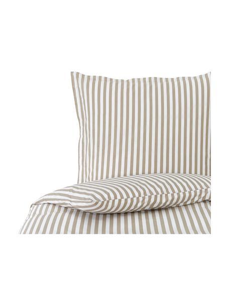 Pościel z bawełny Yuliya, Taupe, biały, 135 x 200 cm + 1 poduszka 80 x 80 cm