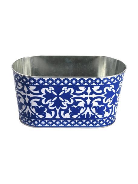 Duża osłonka na doniczkę z metalu Barcelona, Metal powlekany, Niebieski, biały, S 23 x W 12 cm