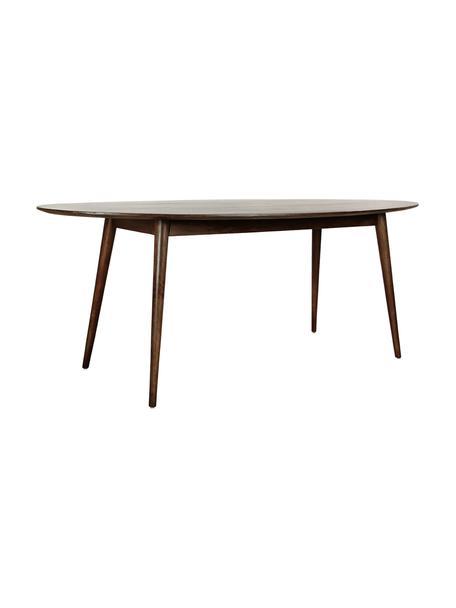 Mesa de comedor ovalada de madera maciza Oscar, Madera de mango maciza pintada, Marrón oscuro, An 203 x F 97 cm
