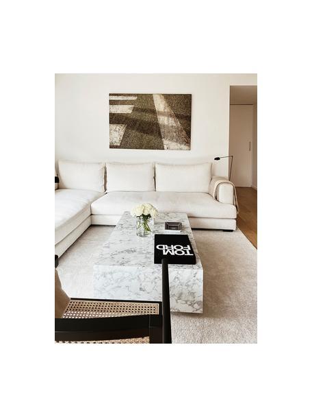 Tavolino da salotto effetto marmo Lesley, Pannello di fibra a media densità (MDF) rivestito con foglio di melamina, Bianco marmorizzato, Larg. 120 x Alt. 35 cm