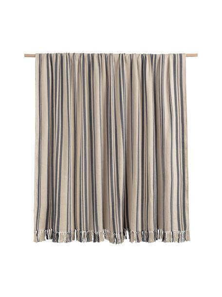 Copriletto in cotone a righe color nero/bianco Juarez, 100% cotone, Color crema, blu scuro, Larg. 180 x Lung. 260 cm (per letti da 140 x 200)