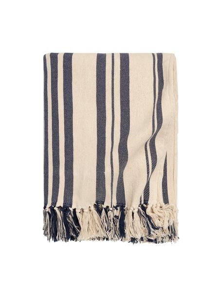 Copriletto in cotone a righe color blu scuro/bianco Juarez, 100% cotone, Color crema, blu scuro, Larg. 180 x Lung. 260 cm (per letti da 140 x 200)