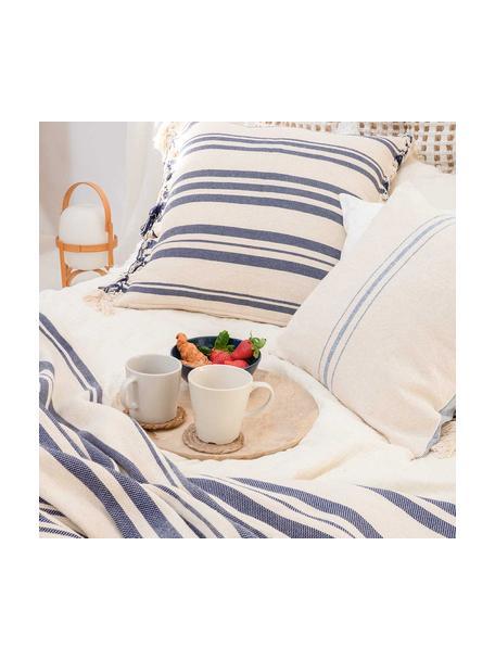 Gestreepte bedsprei Juarez van katoen in donkerblauw/wit, 100% katoen, Crèmekleurig, donkerblauw, B 180 x L 260 cm (voor bedden tot 140 x 200)