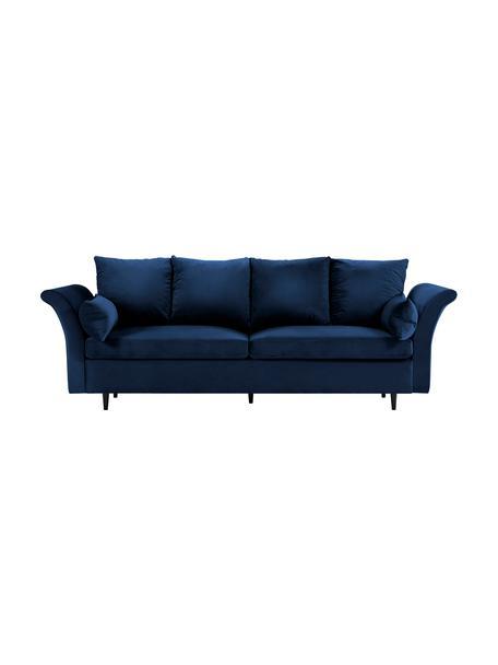 Divano letto 3 posti in velluto blu scuro con contenitore Lola, Rivestimento: velluto di poliestere Il , Piedini: legno di pino verniciato, Blu scuro, Larg. 245 x Alt. 95 cm
