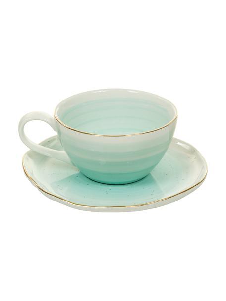 Handgemachte Tassen mit Untertassen Bella mit Goldrand, 2er-Set, Porzellan, Türkisblau, Ø 10 x H 6 cm