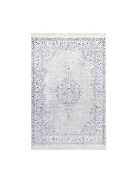 Teppich Medaillon im Vintage Look, Viskose/Baumwolle, 60% Viskose, 40% Baumwolle, Pastellblau, Hellgrau, B 95 x L 140 cm (Größe XS)