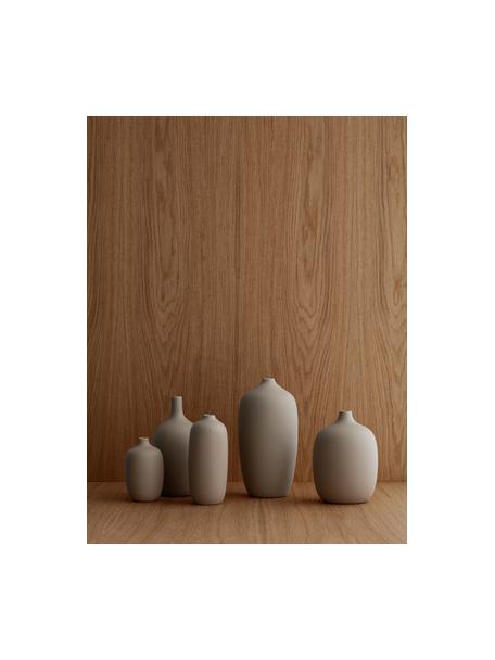 Grote keramische vaas Ceola in beige, Keramiek, Beige, Ø 13 x H 25 cm