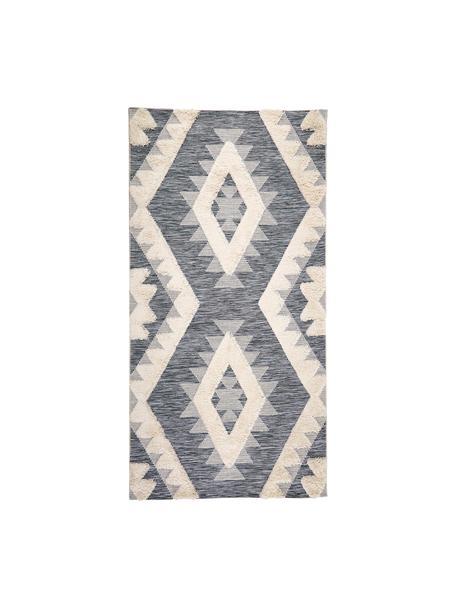 In- en outdoor vloerkleed Tiddas met hoog-laag effect in grijs-crème kleur, Bovenzijde: 100% polypropyleen, Onderzijde: polypropyleen, Crèmekleurig, grijs, B 80 x L 150 cm (maat XS)