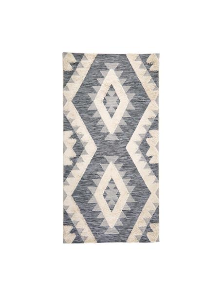 Tappeto da interno-esterno con motivo a rilievo grigio-crema Tiddas, Retro: polipropilene, Crema, grigio, Larg. 80 x Lung. 150 cm (taglia XS)
