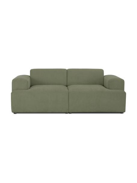 Sofa ze sztruksu Melva (2-osobowa), Tapicerka: sztruks (92% poliester, 8, Stelaż: lite drewno sosnowe, cert, Nogi: tworzywo sztuczne, Sztruksowy zielony, S 198 x G 101 cm
