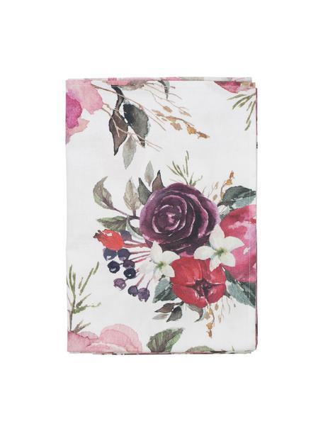 Tovaglia in cotone con motivo floreale Florisia, 100% cotone, Rosa, bianco, viola, verde, Per 4-6 persone (Larg. 160 x Lung. 160 cm)