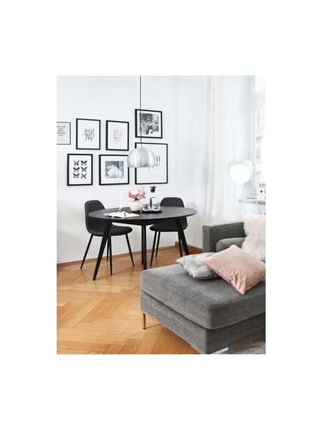 Gestoffeerde stoelen Karla, 2 stuks, Bekleding: 100 % polyester, Poten: metaal, Bekleding: donkergrijs. Poten: zwart, B 44 x D 53 cm