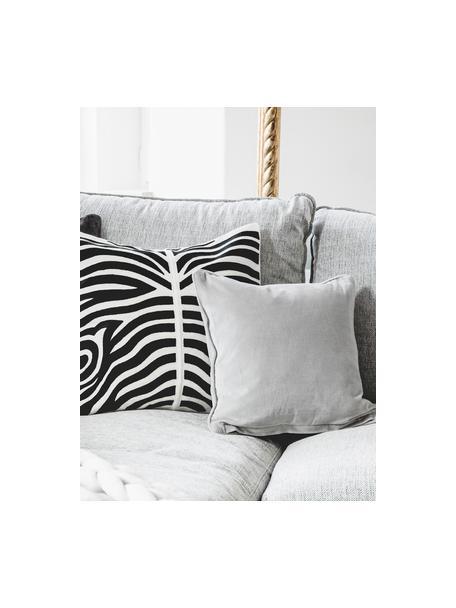 Funda de cojín de terciopelo Dana, 100%terciopelo de algodón, Gris claro, An 40 x L 40 cm