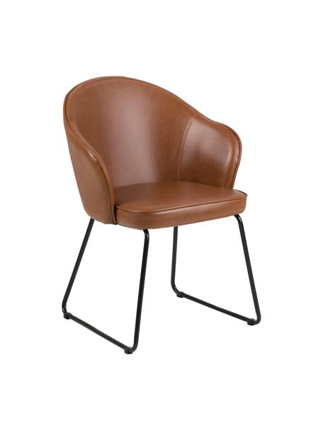Sedia con braccioli  in similpelle Mitze, Rivestimento: poliuretano (similpelle), Gambe: metallo verniciato, Pelle sintetica cognac, gambe nere, Larg. 57 x Alt. 59 cm