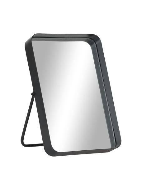 Eckiger Kosmetikspiegel Bordspejl mit schwarzem Metallrahmen, Rahmen: Metall, pulverbeschichtet, Spiegelfläche: Spiegelglas, Schwarz, 22 x 33 cm
