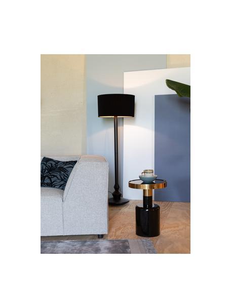 Stolik pomocniczy emaliowany Glam, Blat: metal emaliowany, Stelaż: metal malowany proszkowo, Czarny, Ø 36 x W 51 cm