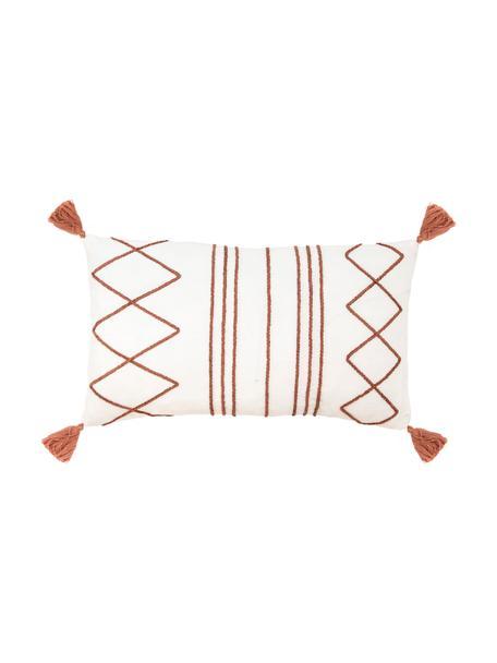 Kissenhülle Istanbul mit Hoch-Tief-Muster aus Chenille und Quasten, 100% Baumwolle, Weiß, Terrakotta, 30 x 50 cm
