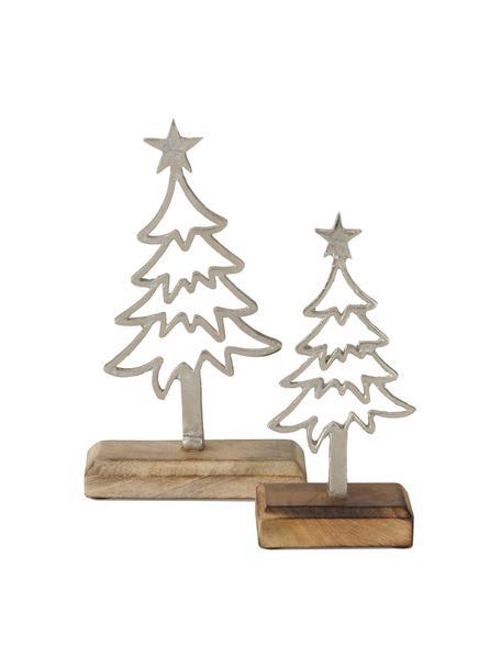 Deko-Bäume Murmansk in Silber, 2 Stück, Mangoholz, Aluminium, vernickelt, Mangoholz, Nickel, Sondergrößen