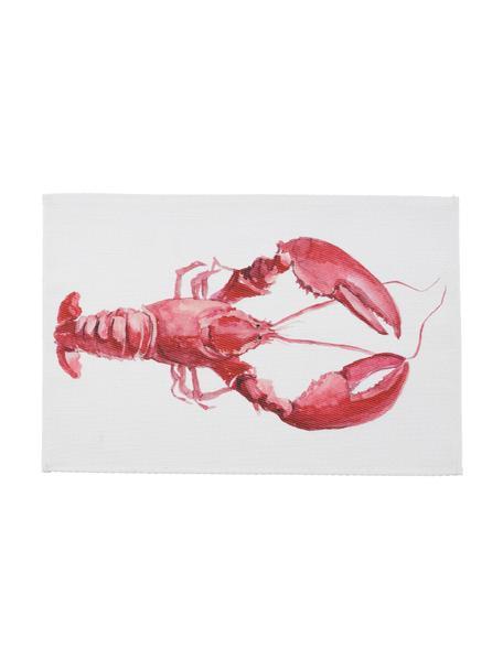 Placemat Ocean met kreeftenmotief, Polyester, Wit, rood, 30 x 45 cm