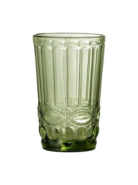Wassergläser Florie in Grün im Landhausstil, 4 Stück, Glas, Grün, Ø 8 x H 13 cm