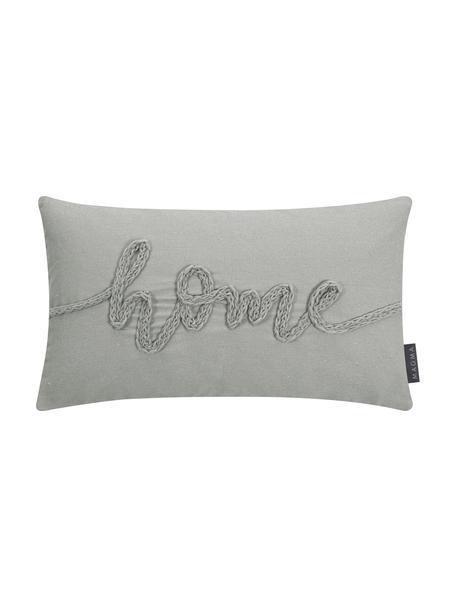 Kussenhoes Mina met geborduurd opschrift, 70% polyester, 30% katoen, Grijs, 30 x 50 cm