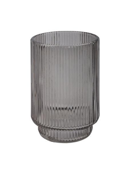 Porta spazzolino in vetro scanalato Ligia, Vetro, Grigio trasparente, Ø 8 x Alt. 10 cm