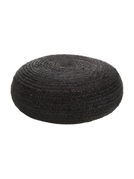 Puf artesanal de yute Bono, estilo boho, Tapizado: yute, Negro, Ø 61 x Al 21 cm