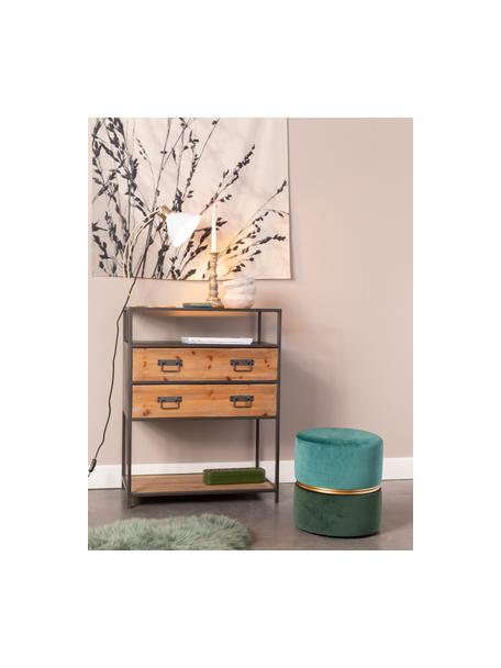 Fluwelen poef Bubbly, Bekleding: polyester fluweel, Frame: MDF, grenenhout, Groentinten, Ø 35 x H 39 cm