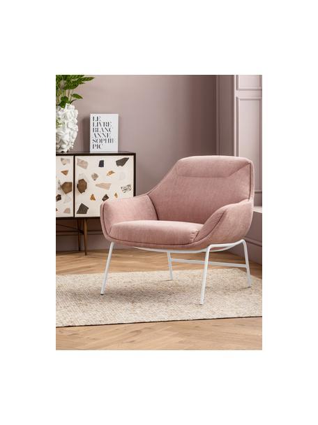 Loungefauteuil Austin in roze, Bekleding: 100% polyester, Poten: gepoedercoat staal, Roze, 83 x 82 cm