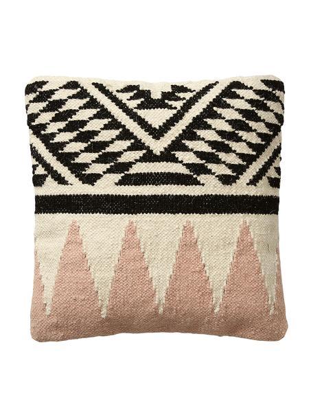 Poszewka na poduszkę z wełny w stylu etno Greta, 90% wełna, 10% bawełna, Beżowy, czarny, blady różowy, S 45 x D 45 cm