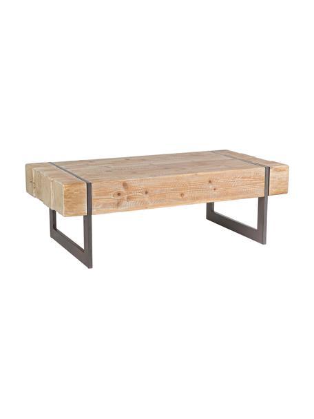 Tavolino da salotto in legno Garrett, Gambe: metallo epodissato, Marrone, marrone scuro, Larg. 120 x Prof. 60 cm