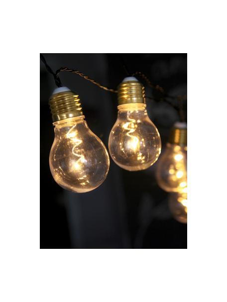 LED lichtslinger Bulb, 100 cm, 5 lampions, Peertje: kunststof, metaal, Peertje: transparant, goudkleuri. Snoer: zwart, L 100 cm